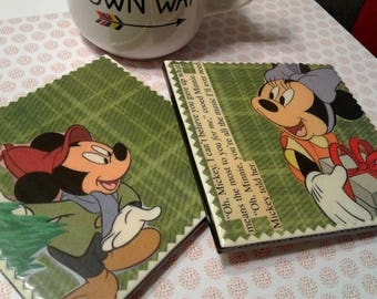 Gift of the Magi | Mickey and Minnie Upcycled Book Page Coasters