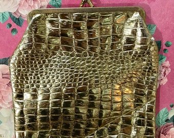 Large Gold Vinyl Crocodile Pouch Accessory Case