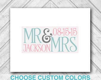 personalized wedding guestbook alternative - mint pink wedding - custom guestbook canvas unique