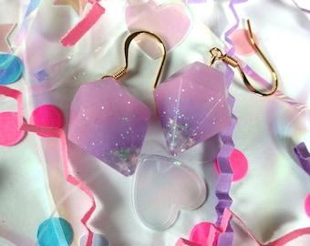 Purple Resin Crystal Diamond Earrings with Holographic Star Glitter 14k Gold Plated Hooks Kawaii Fairy Kei Decora Pastel Unicorn Jewelry