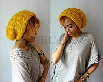 Slouchy Beanie Oversized Knit Beanie Satin Lined Beanie Mustard Yellow or Choose Your color