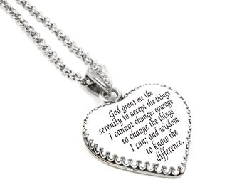 Christian Jewelry, Silver Christian Pendant, Faith Jewelry, Christian Necklace, Spiritual Jewelry, Christian Quote