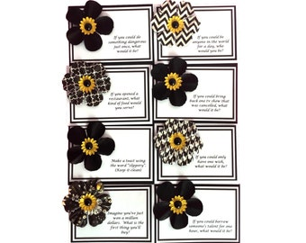 Place Cards, Dinner Place cards, Seating Cards, Place Setting Cards, Activity Place Cards, Name Cards, Black & White, TwoSistersGreetings