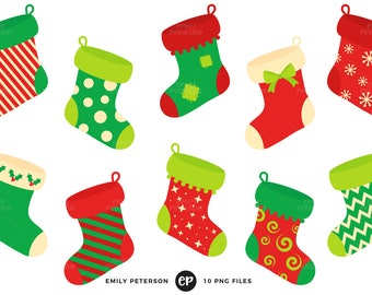 50% OFF SALE! Christmas Clip Art, Stockings Clipart, Fireplace Clip Art - Commercial Use, Instant Download