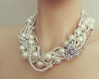 Bridal Statement Necklace, Wedding Bridal Jewelry, Chunky Pearl Rhinestone Necklace, Bridal Pearl Necklace, Bridal Jewelry