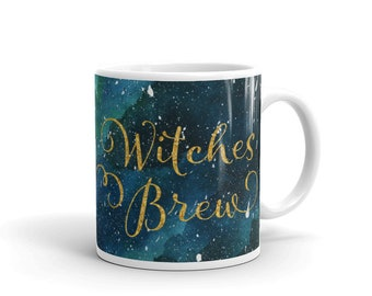 Witches Brew Halloween Mug (stars, green, emerald, scary, coffee, tea, drink, Halloween gift, gifts for her, night sky, watercolour)