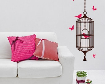 Cage with birds | Birdcage Bird Cage | Bird Cagebirds wall decal | Butterfly Decal | Decorative Butterfly | Butterfly Sticker | sticker pack
