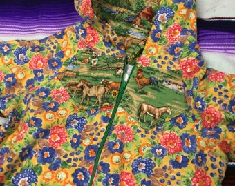 9-12 month farm and flowers flannel hooded one piece
