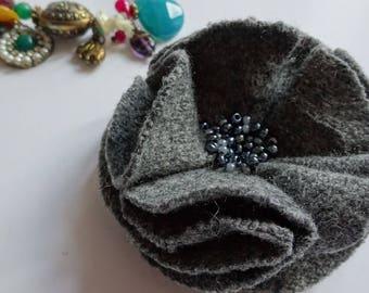 fabric flower brooch, dark grey accessories, gray brooch, fabric flower pin, grey brooch, gray flower pin, upcycled brooch, gray flower