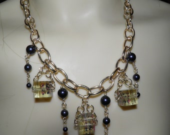 """Steampunk Resin Pearl Necklace - 18"""""""