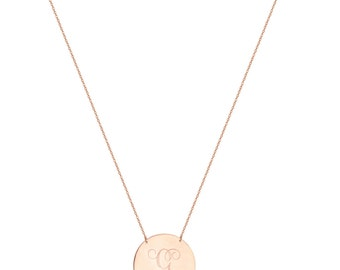 Personalize 18k Rose Gold Disc Necklace Monogram Initial Handmade pendant in 18k rose gold plated 925 sterling silver - Disc nameplate