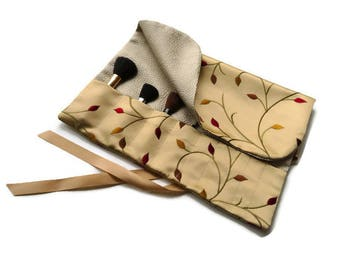 Makeup Brush Roll Gold Embroidered Flower Bud Cosmetic Bag Roll up