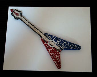 Mosaic Guitar Wall Decor Teen Room Handmade Patriotic Decor Gift Under 25 Dollars