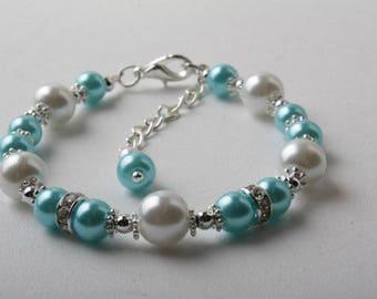 Blue pearl bracelet, Blue Bridesmaid bracelet, flower girl bracelet, aqua pearl bracelet, Blue aqua wedding jewelry,  blue flower girl gift