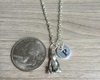 Monkey initial necklace, Monkey jewelry, zoo animal jewelry, Monkey necklace, Africa necklace, silver Monkey necklace