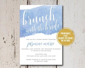 Bridal Shower Invitation Printable, Watercolor Bridal Shower Invitation, Blue Watercolor Invites,Brunch with the Bride Invitations, Download