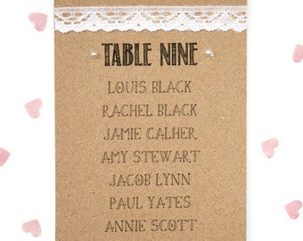 Rustic Kraft, Lace and Pearl Wedding Table Plan Card