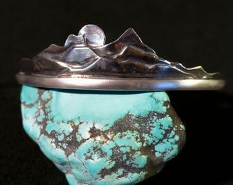 Handmade   Silver Bracelet   Mountain Bracelet   Cuff bracelet   Moon Bracelet   Oxidized .999\.925 Silver