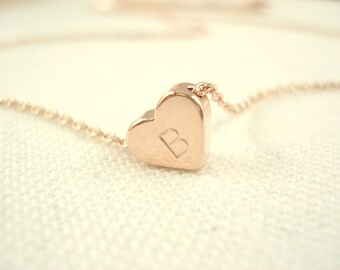 Personalized Tiny simple Rose gold heart necklace...hand stamped bridesmaid gift, flower girl, wedding, everyday minimalist  pendant