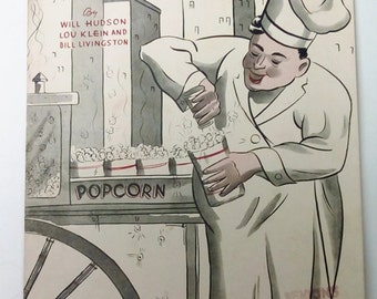 Popcorn Man Vintage Sheet Music 1937 Man Cave Theater Room