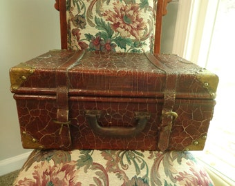Vintage Reptile Skin Brass Corners Suitcase Velveteen Lined 1940s Snakeskin Case
