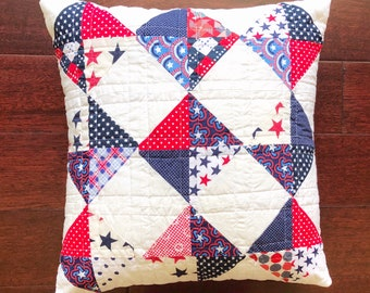 """4th of July Patriotic Quilted Decorative Throw Pillow 16"""""""