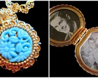 Vintage Coro Locket Necklace - Shades of Blue