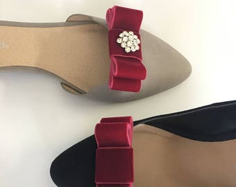 Burgundy Velvet  Ribbon Bow Plain or with Rhinestone Center Shoe Clips Set Of Two