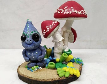 Polymer clay sculpture, Blueberry monster with fungi garden - ooak