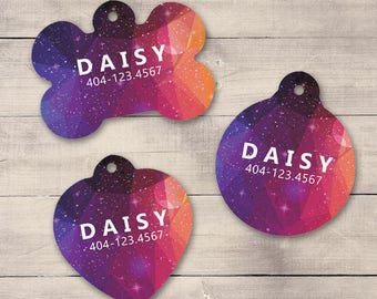 Galaxy Pet ID Tag, Geometric Galaxy Pet Tag, Custom Pet Tag, Personalized Dog Tag, Dog ID Tag, Puppy Tag, Dog ID, Pet Tag, Cat Tag (0014)