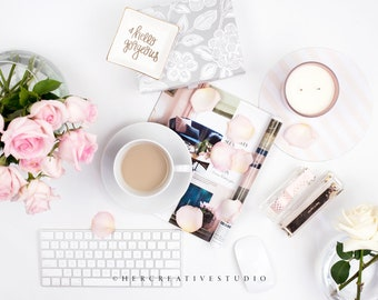 Styled Stock Photography | Flatlay | Roses with Pink and White Desk Accessories  | Styled Photography | Digital Image