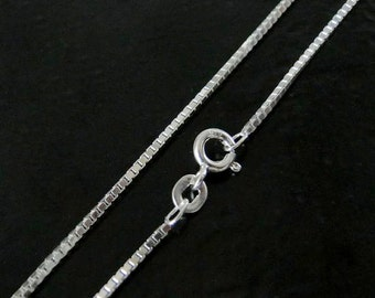 18 Inch - Sterling Silver 1.1mm Box Chain Necklace