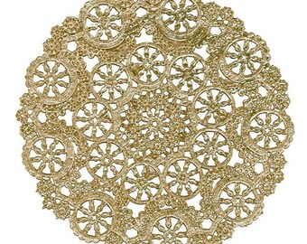 """Medallion Doilies, 4"""" or 5"""" Gold or Silver Foil"""