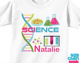 Personalized Science Party T-shirt Bodysuit Girl Kids Little Scientists Science Experiments Lab Birthday Party Shirt