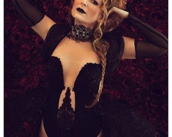 Dark Gothic Bodysuit Marie Antoinette Costume Guipure Lace Panniers Vampire