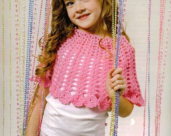 Crochet Seashells Poncho Vintage Pattern Toddler sleeveless sun beach spring vest pullover shawl clothes girl jumper pdf digital download
