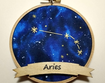 "4"" Aries Zodiac Embroidery Hoop Ornament"