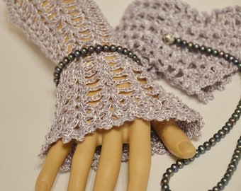 Silver Lace Boho Wrist cuffs, Romantic Crochet Mitts