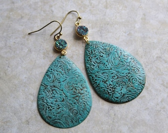 Boho Druzy Statement Earrings, Patina Dangle Earrings, Bohemian Filigree Swirly Earrings
