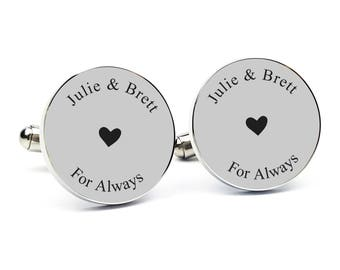 Gift for Groom From Bride Personalized Cufflinks Engraved Cufflinks Round Cufflinks Cuff link Gift for Him Groom Gift Anniversary Gift 5
