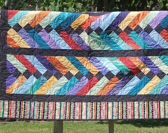 Modern Log Cabin Lap Quilt Round Blue Brown Black Batik