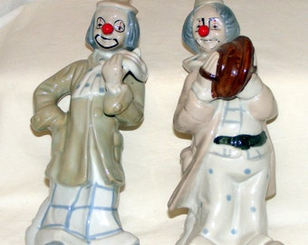 Vintage Pair of PORCELAIN CLOWN FIGURINES