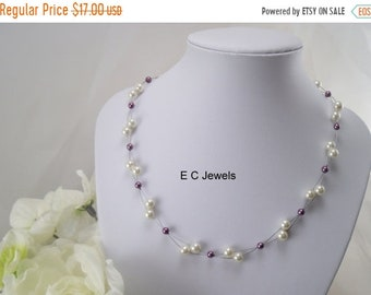 SHOP SALE Floating Pearls Necklace for your Bridesmaids- you pick your colors