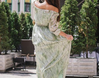 Natural silk maxi dress with sleeve / snake print / dreen dress floor length / limited edition