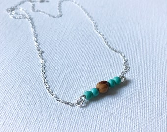 Blue Magnesite and Navajo Ghost Bead Necklace
