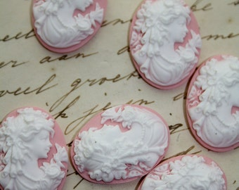 6 unset lady cameos - white on pink - 25x18mm