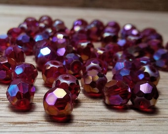 Faceted Crystal Glass Round Beads, Red AB, 6mm, 65ct.