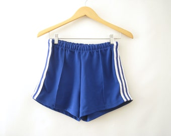 80s Blue Track Shorts Side Stripes Gym Athletic Sporty Hip Hop Pastel Goth Club Kid Rave Festival // S