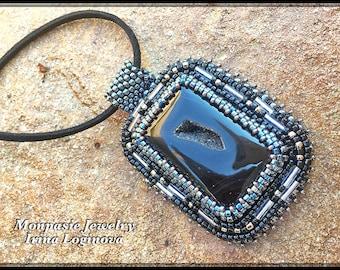 Bead Embroidered Pendant Necklace - Black Druzy Agate Pendant - Rectangular Pendant Necklace