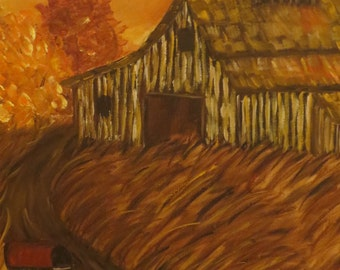 Impressionist Original Acrylic Painting of A Country Barn